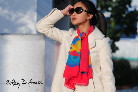 rainbow silk chiffon scarves oversized how to wear a large scarf fashion designer mary DeArment luxe gift luxury accessory