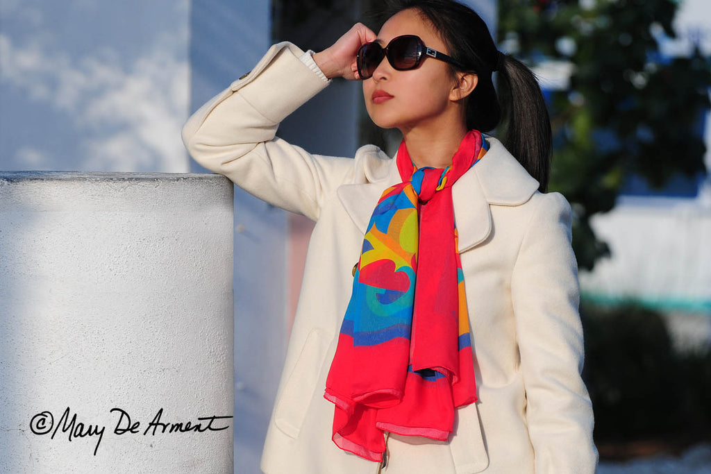 rainbow oversized silk chiffon scarf scarves luxury accessory luxe gift corporate gifts multi-icolored fashion designer mary DeArment