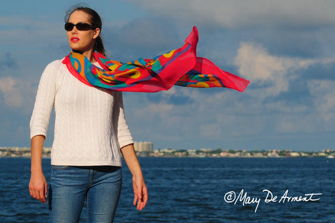 rainbow oversized silk scarf LGBT scarves square fashion designer mary DeArment spring colors raspberry blue yellow