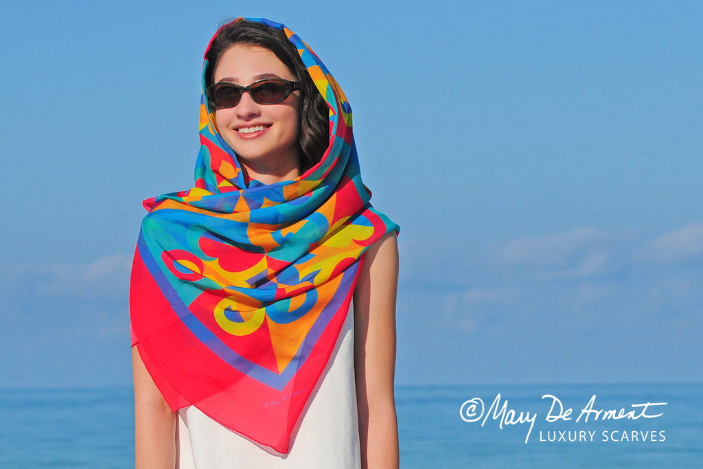 rainbow multicolored silk chiffon oversized square scarf luxury scarves luxe gifts fashion designer mary DeArment Persian Persia headscarf custom designs