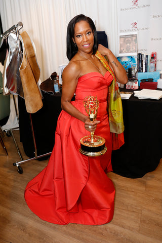 Regina King Emmy Winner gifting suite mary DeArment fashion silk scarf designer custom designs luxury accessory luxe gift