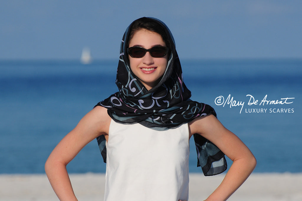 shalom peace scarf cashmere oblong scarves fashion designer mary DeArment custom scarves socially conscious luxury accessory luxe gift black blue lavender