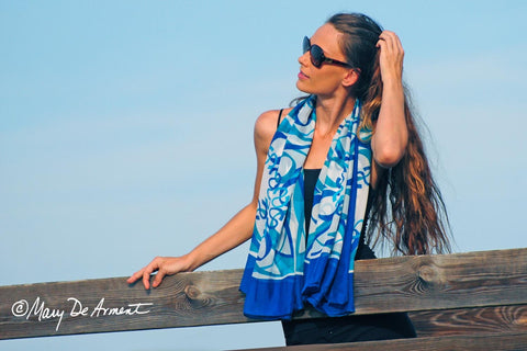 taos blue green white silk chiffon oversized scarf how to wear a large scarf fashion designer mary DeArment luxe gift