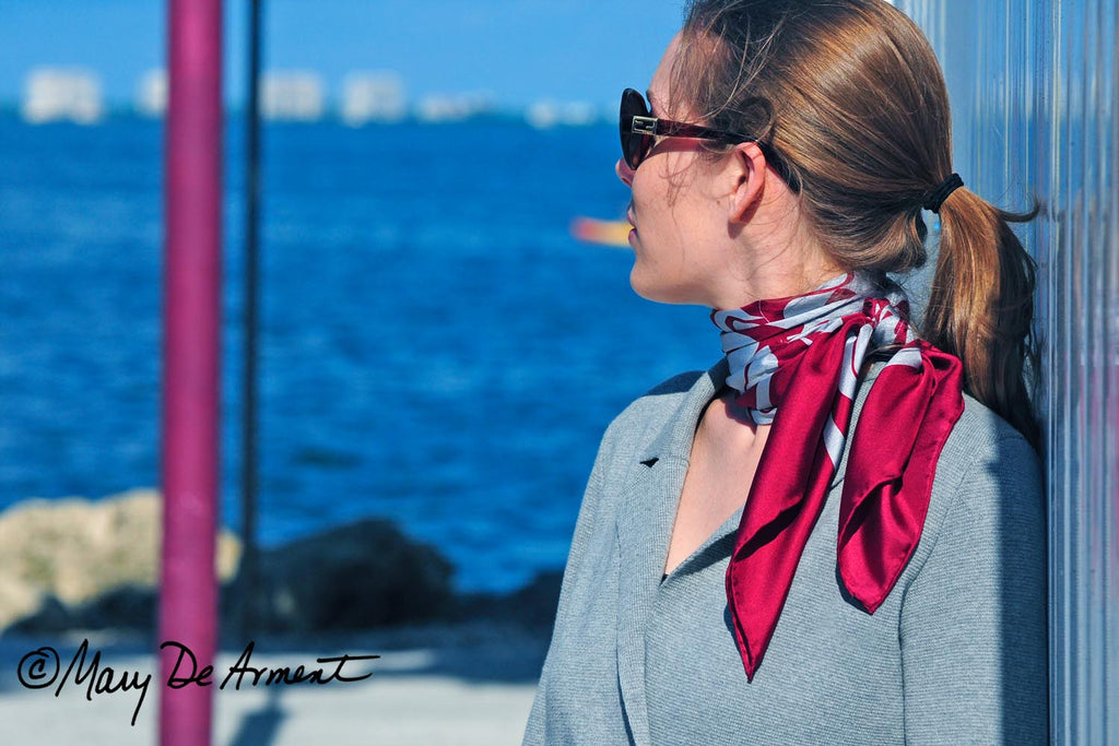 cannon beach burgundy wine tasting silk square scarf luxury fashion designer Mary DeArment