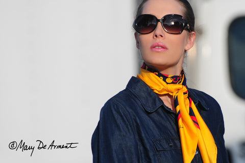 hope regatta silk scarf fashion scarves celebrity emmy primetime emmys mary DeArment square oblong cashmere yellow navy gold red