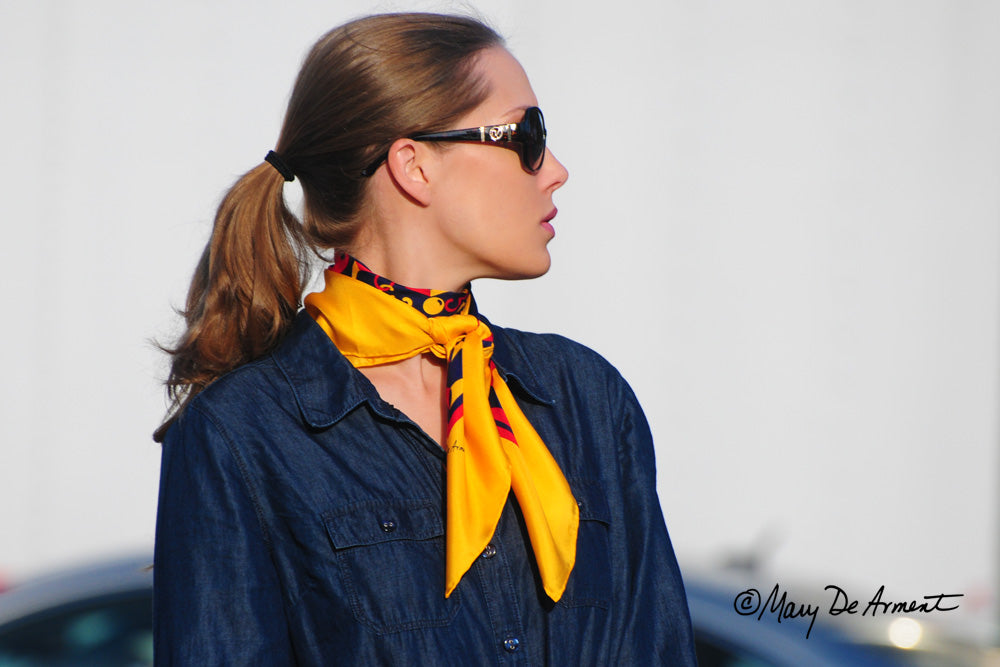 regatta silk scarf luxury brand fashion designer mary DeArment gold navy red luxe gift headscarf luxury accessory