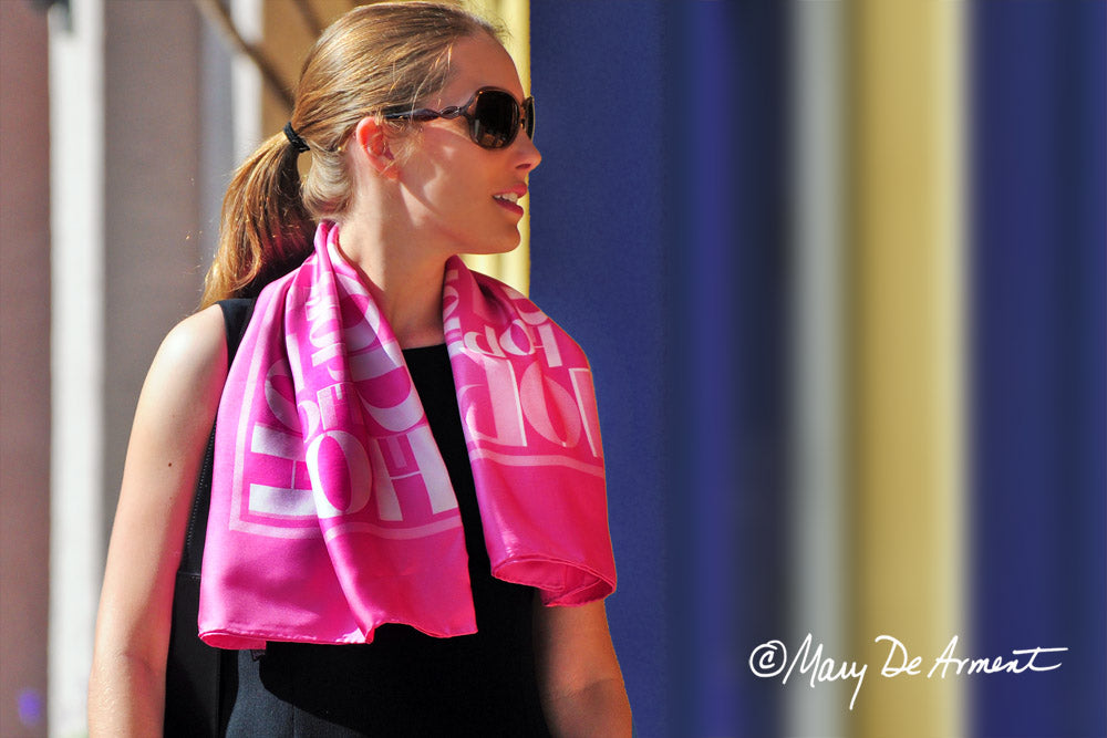 hope pink silk twill square scarf luxury accessory luxe gift fashion designer mary DeArment cashmere oblong headscarf