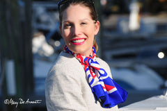 red white blue patriotic scarf luxury accessory silk cashmere square oblong scarves fashion designer mary DeArment