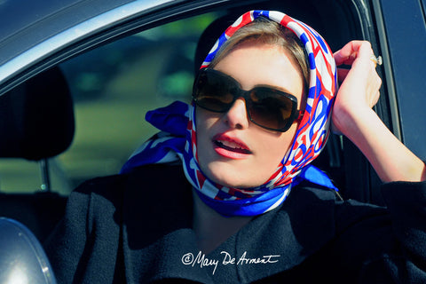 red white blue patriotic silk scarf luxury accessory luxe gift independence day sarasota fashion designer mary DeArment custom designs