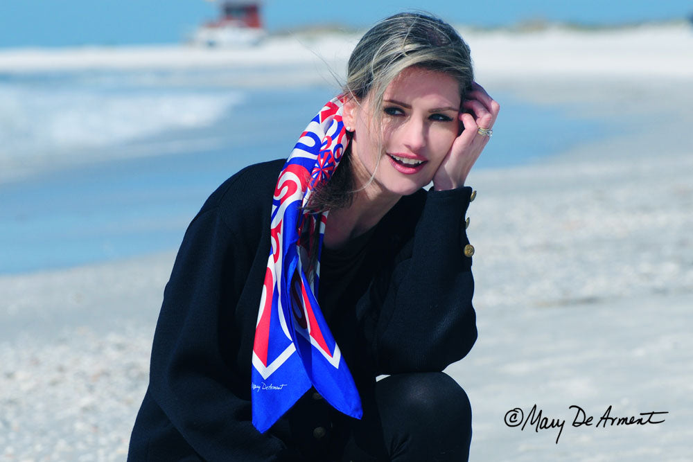 red white blue patriotic square silk scarf sarasota luxury accessory luxe gift fashion designer mary DeArment corporate gifts custom designs cashmere oblong