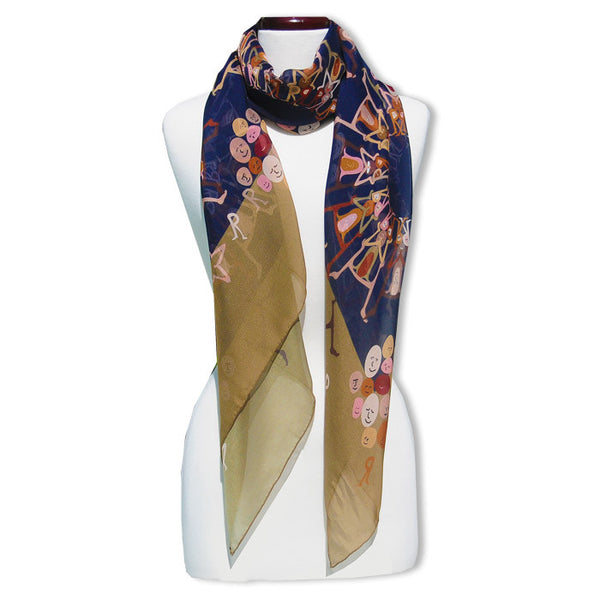 "HUMOR - SILK CHIFFON OVERSIZED 54x54"" SCARF - Scarves by Mary DeArment - 1"