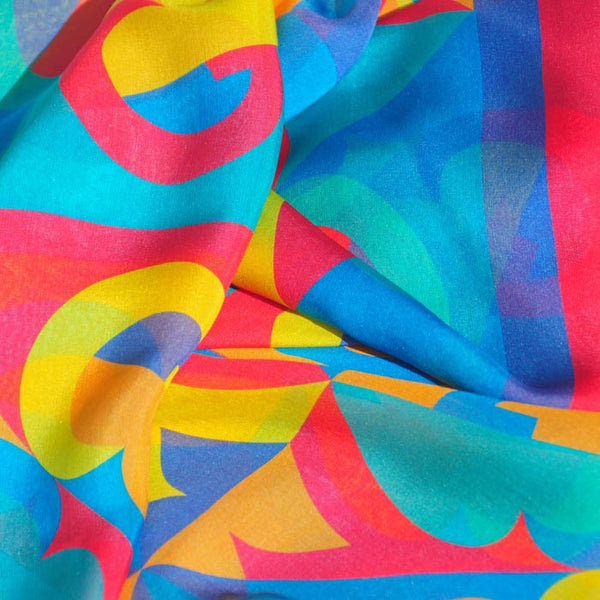 "RAINBOW - SILK CHIFFON OVERSIZED 54x54"" SCARF - Scarves by Mary DeArment - 2"