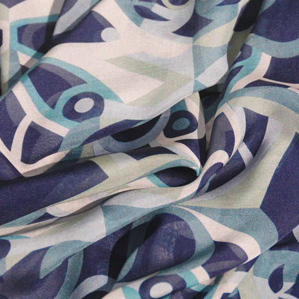 "NETWORK - SILK CHIFFON OVERSIZED 54x54"" SCARF - Scarves by Mary DeArment - 2"