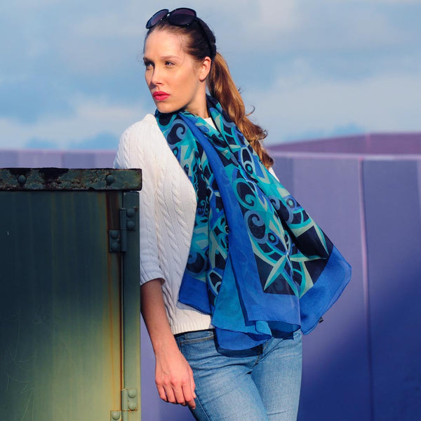 "GOES-EVERYWHERE - SILK CHIFFON OVERSIZED 54x54"" SCARF - Scarves by Mary DeArment - 5"