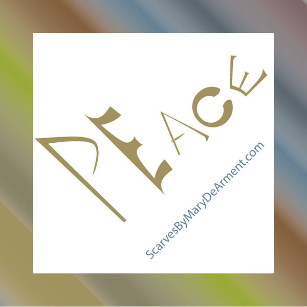 "Peace is Multicolored MODAL CASHMERE LUXE SCARF 20x68"" - Scarves by Mary DeArment - 7"