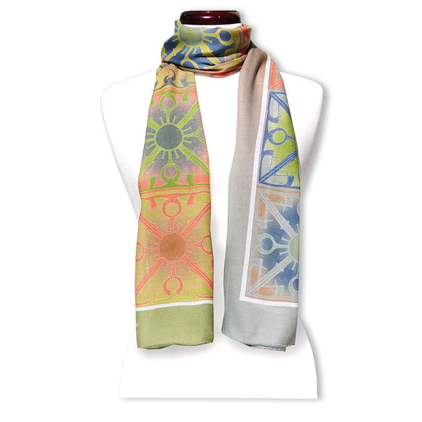 "Peace is Multicolored MODAL CASHMERE LUXE SCARF 20x68"" - Scarves by Mary DeArment - 1"