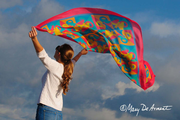"RAINBOW - SILK CHIFFON OVERSIZED 54x54"" SCARF - Scarves by Mary DeArment - 7"