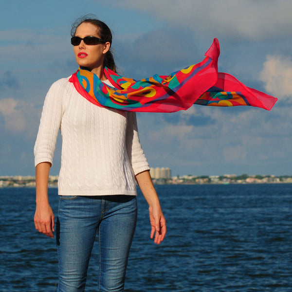 "RAINBOW - SILK CHIFFON OVERSIZED 54x54"" SCARF - Scarves by Mary DeArment - 5"