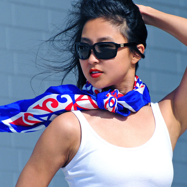 "PATRIOTIC SILK SCARF - 36x36"" - Scarves by Mary DeArment - 5"