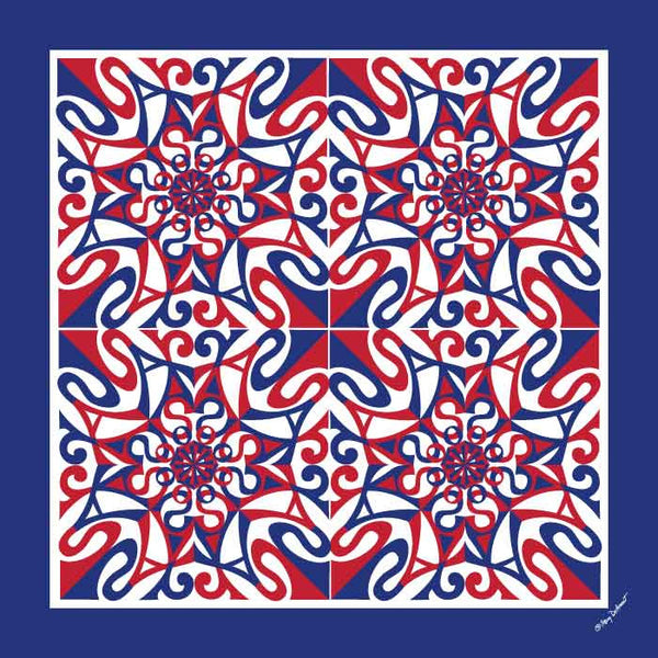 "PATRIOTIC SILK SCARF - 36x36"" - Scarves by Mary DeArment - 6"