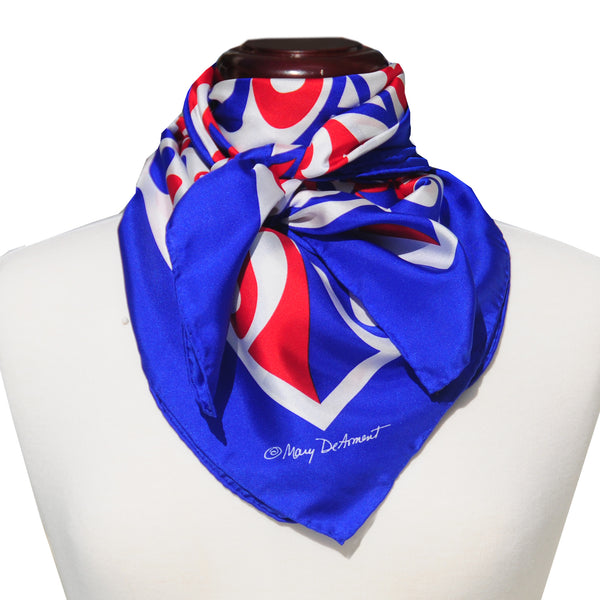 "PATRIOTIC SILK SCARF - 36x36"" - Scarves by Mary DeArment - 1"