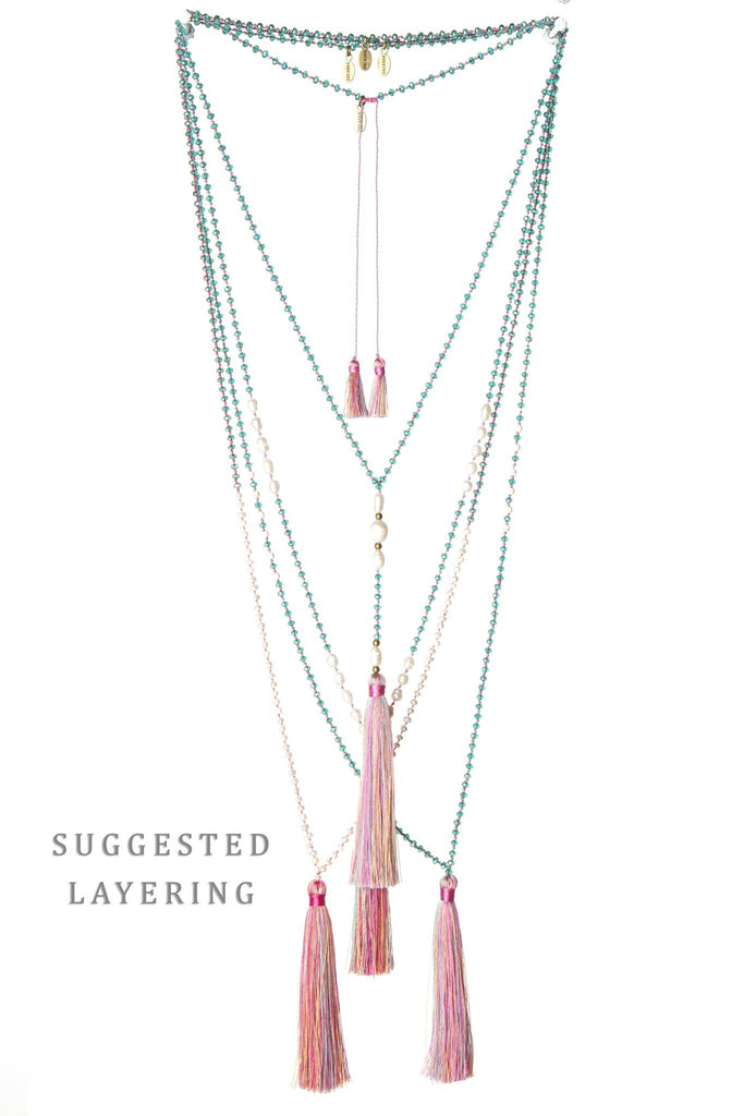 Shades of Pink Mini Pearl Tassel Necklace