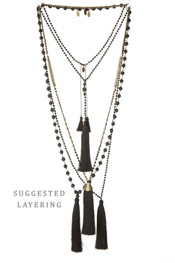 Black Tassel Mala Necklace - Large Lava Stones