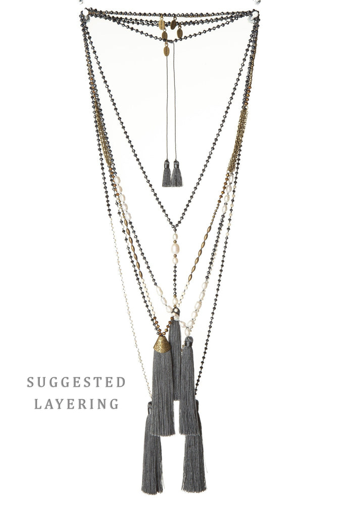 Charcoal Tassel Necklace Small Crystals - Fresh Mini Water Pearls