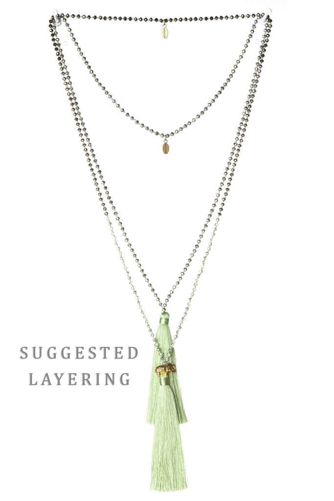 Tea Green Tassel Necklace Small Crystals Mirror - Gold Good Luck Elephant