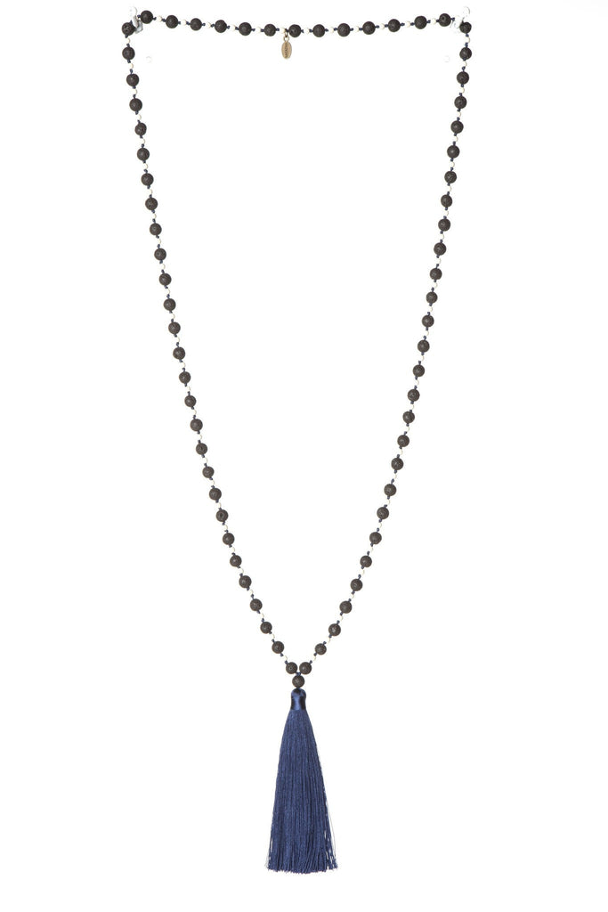 Navy Tassel  Mala Necklace - Large Lava Stones