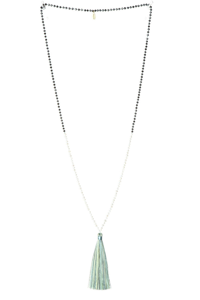 Shades of Turquoise Mini Pearl Tassel Necklace