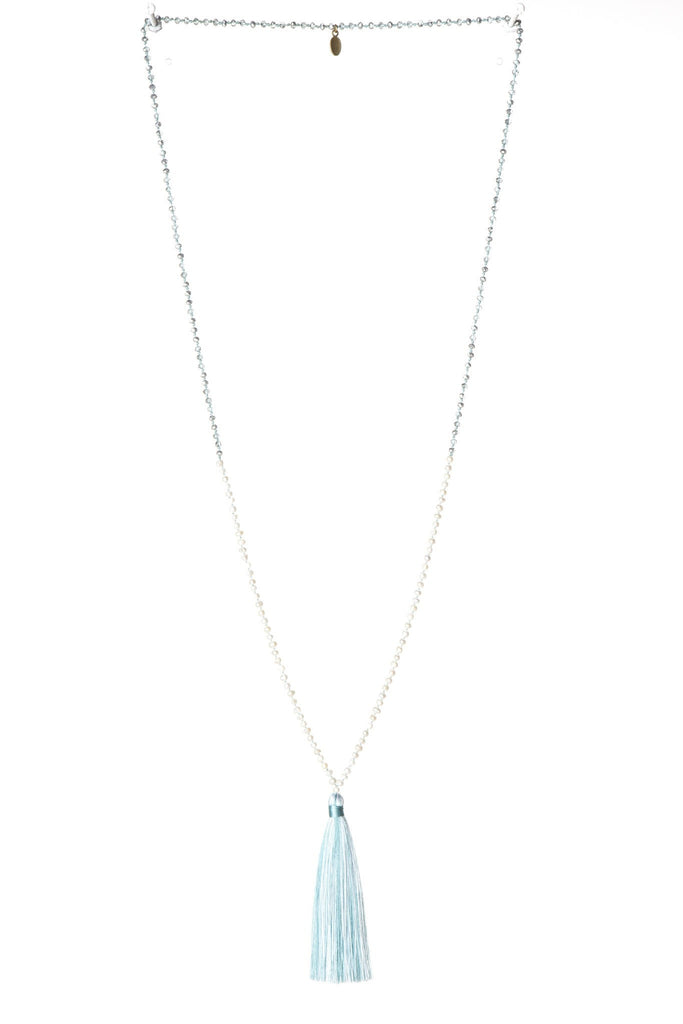Shades of Light Turquoise Tassel Necklace Small Crystals - Fresh Mini Water Pearl
