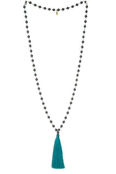 Long Lava Stone Necklace with Tassel