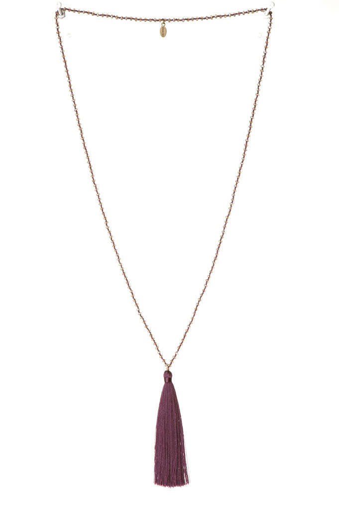 Tassel Necklace In Plum