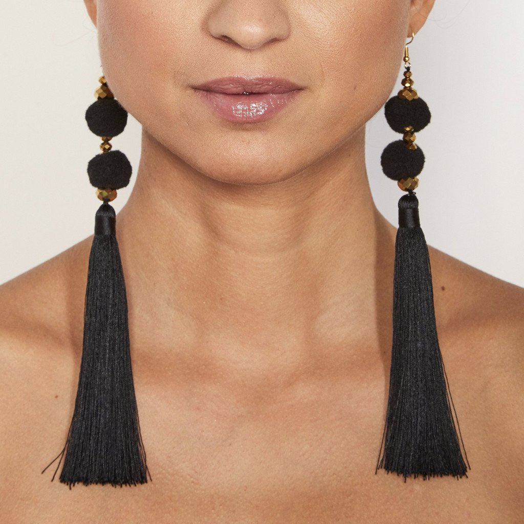 Long Tassel Earring with Double Pom Pom