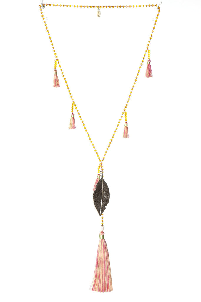 Leaf Multi Tassels Necklace in Salmon Multi