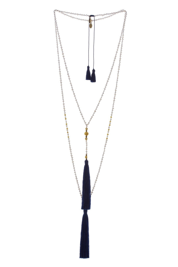 Premium Pearl & Gold Rosario Set in Navy
