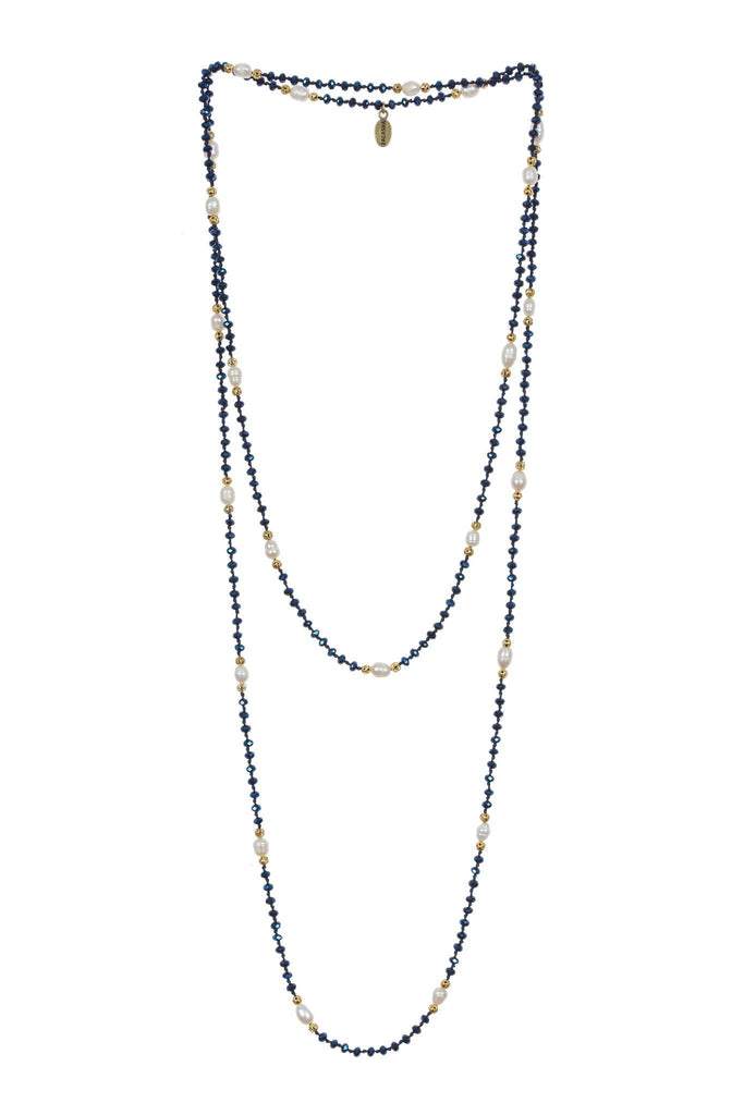 Pearl Layering Long Necklace in Blue