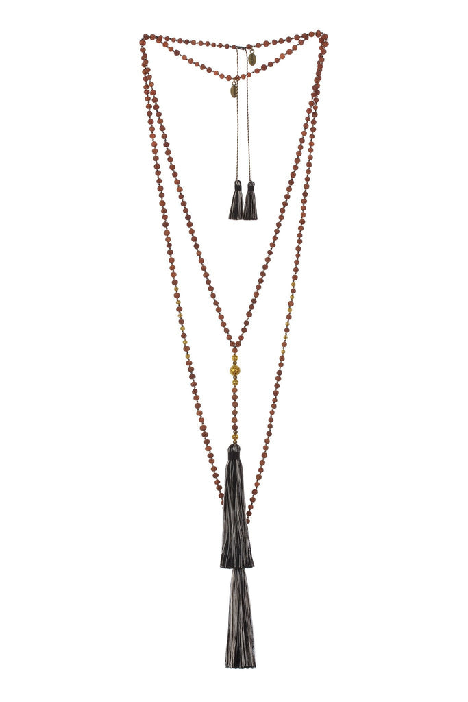Premium Ganitri & Gold Rosario Set in Black Multi