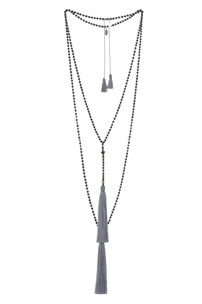 Cadet Grey Premium Hematite Rosario set Of 2 Necklaces - Silver Crystals