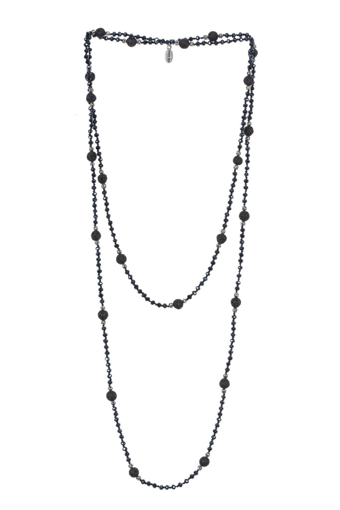 Lava Layering Long Necklace in Gunmetal