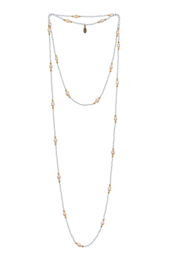 Pearl Layering Long Necklace in White