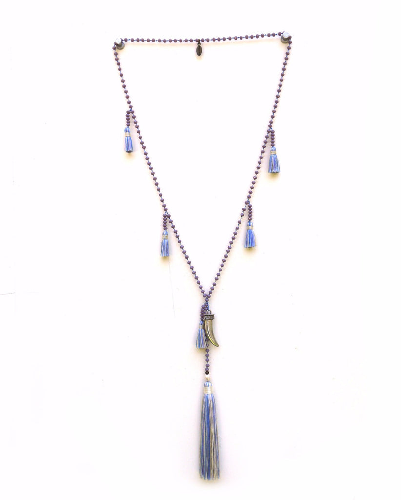 Necklace Crystals Horn Multi Tassels - Fresh Water Pearl