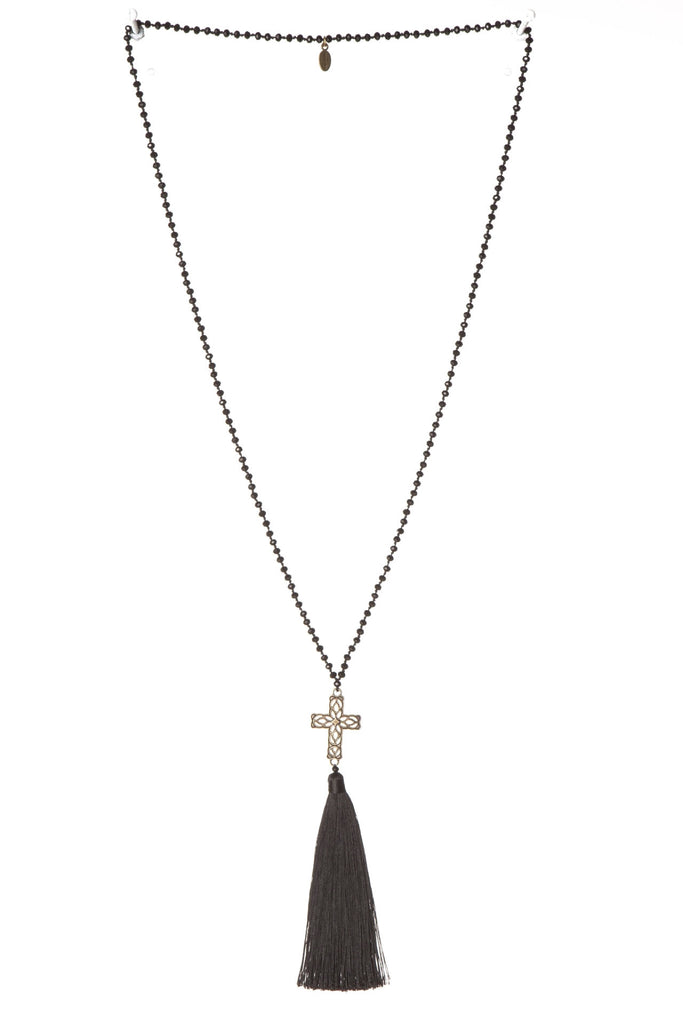 Cross Necklace in Black