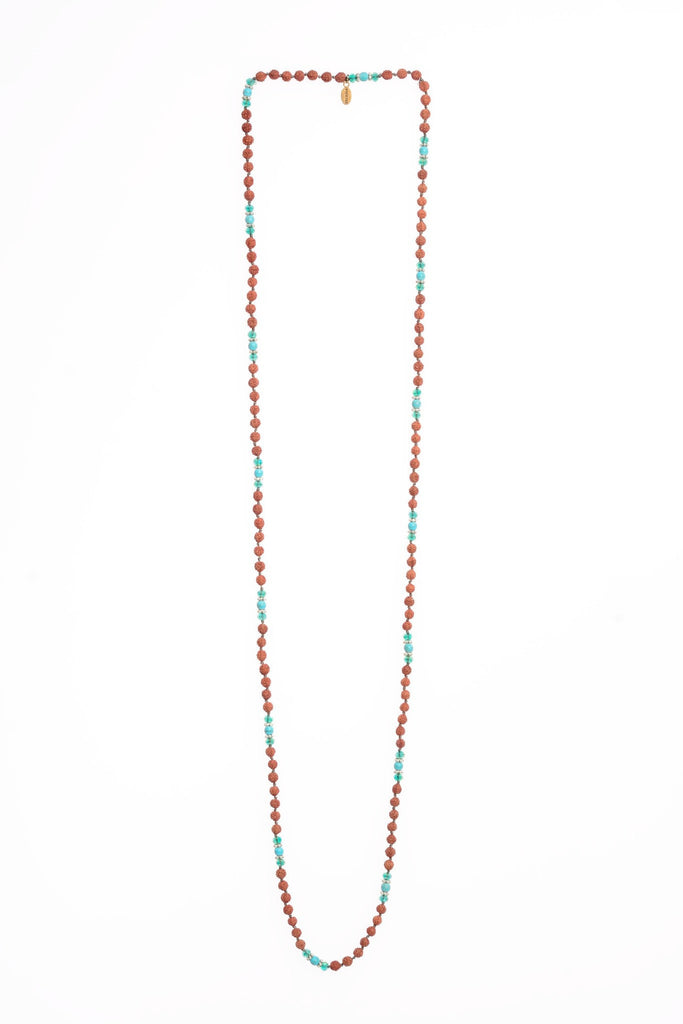 Necklace Shiva Ganitri Seeds Turquoise Stones Crystals