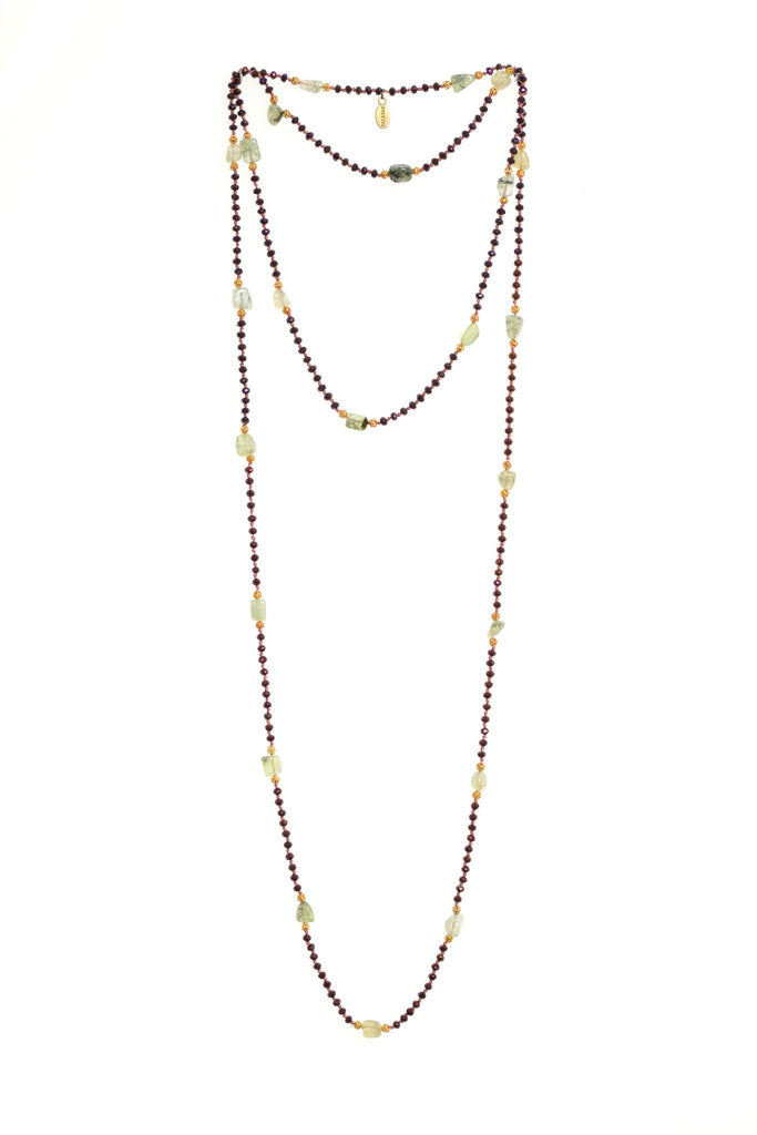 Jade Layering Long Necklace in Indian Rose