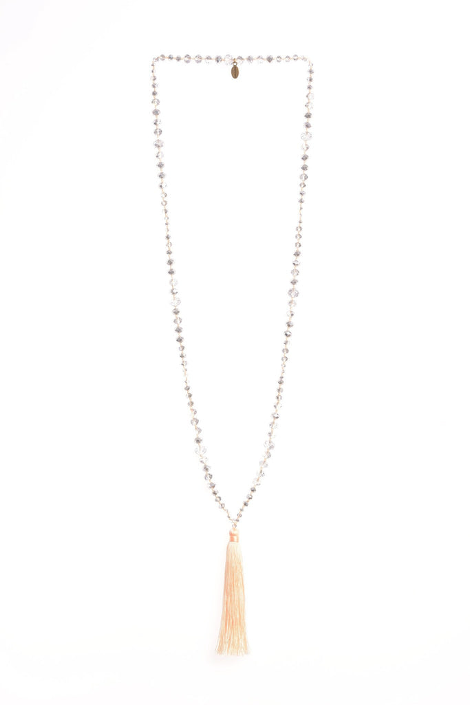 Apricot Infinity Tassel Necklace Mirror Crystals