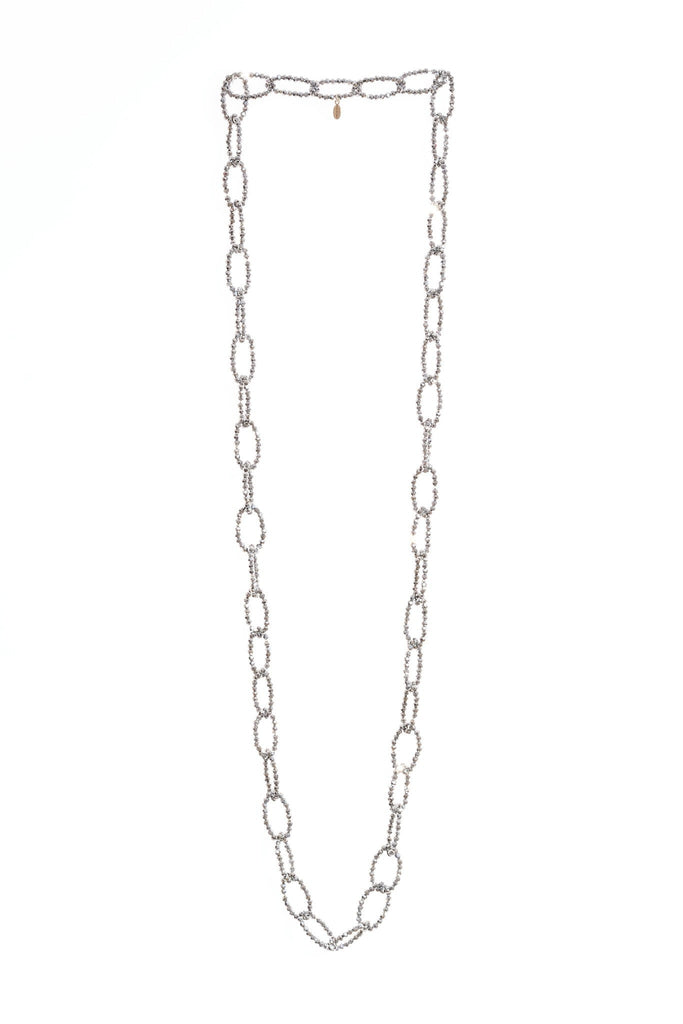 Crystal Loop Necklace in Silver