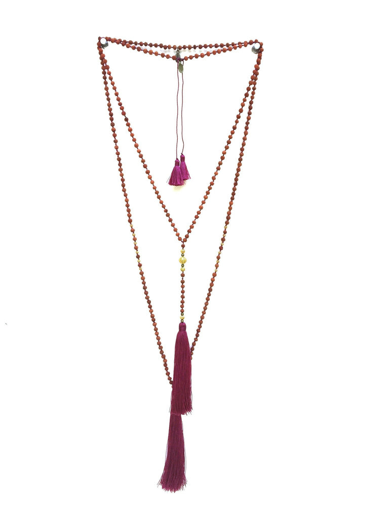 Premium Ganitri & Gold Rosario Set in Deep Carmine