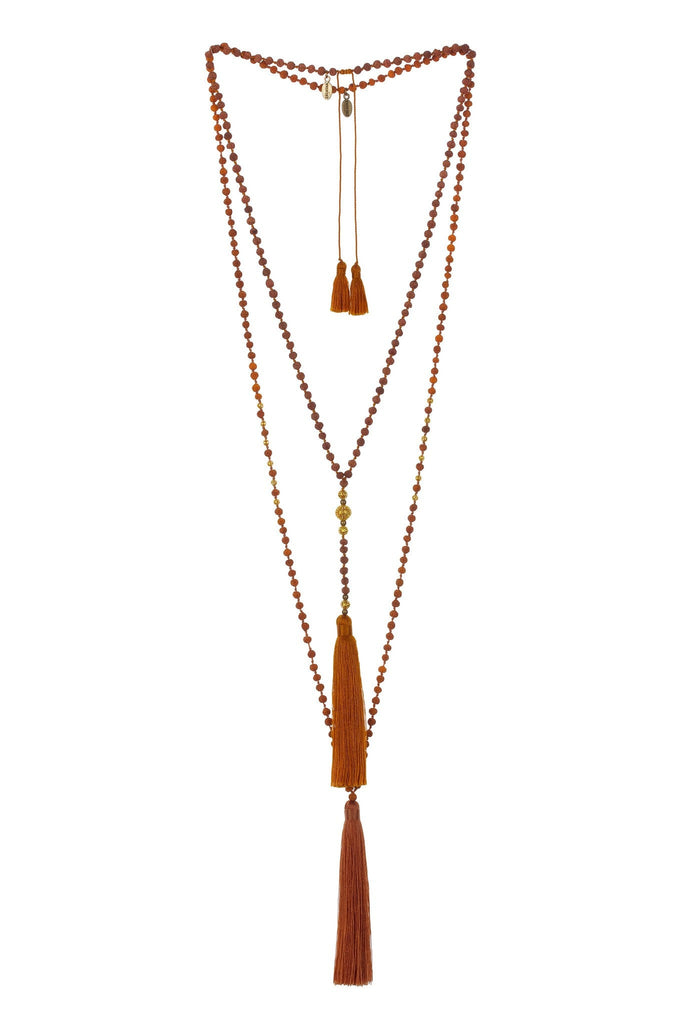 Bronze Premium Ganitri Seeds Rosario Set Of 2 Necklaces -Gold Beads